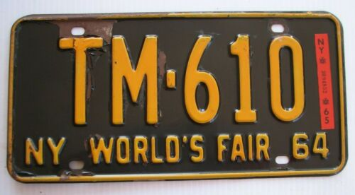 "1964 1965 NEW YORK AUTO  LICENSE PLATE  "" TM 610 "" NY  64 65  ALL ORIGINAL COND"