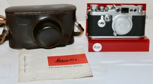 Leica IIIg + 5cm Red Scale Elmar 35mm RF Camera Just Serviced 1958 Germany NICE
