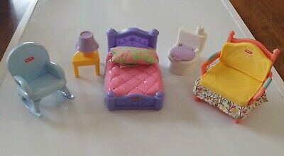 Fisher Price Loving Family DollHouse Furniture LOT Bed NightStand Rocking Chair