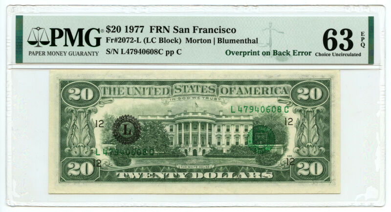 1977 $20 FRN San Francisco, CA PMG Choice UNC 63 EPQ Overprint on Back Error