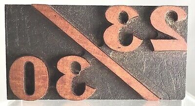 Vintage Calendar 2330 Wood Letterpress Print Printers Block Fraction Kids Ages