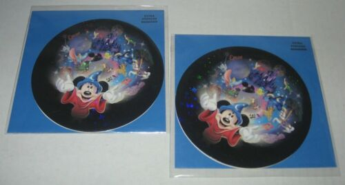 2 LOT Disney Parks Resorts Mickey Mouse Wizard BLANK Round Greeting Cards w/Env.
