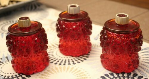 3 Vintage Red Pegged Votive Cup Candle Holder Ruby Daisy Button Flared