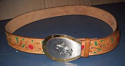 Brown Shoe Leather Belt (BROWN GENUINE LEATHER BELT 38 FLORAL CRAFTED W/ HORSE SHOE SILVER GOLD)