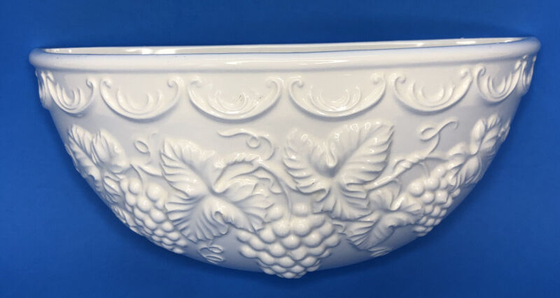 Vintage Enesco Milk Glass Wall Pocket Hanging Planter 3D Grapes & Leaves 4x8""