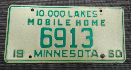 1960 Minnesota 10,000 Lakes Mobile Home License Plate Tag  #6913