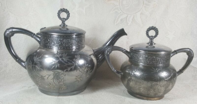 Antique James W. Tufts Quadruple Silver Plate No1940 Boston Teapot Set Engraved