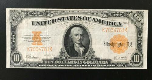 U.S. $10.00 Gold Certificate. 1922 FR1173. Very Fine. Large Note