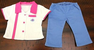 American Girl Doll BOWLING OUTFIT Shirt Blue Pants Uniform Retired Tenney