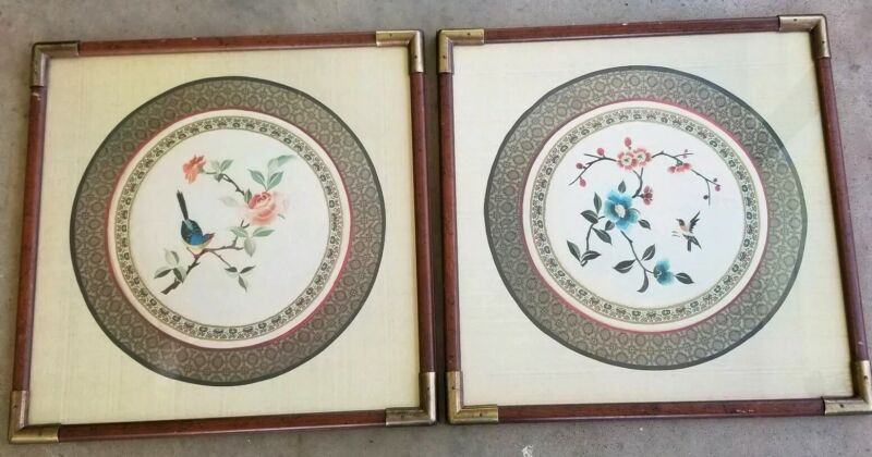 Mid Century Oriental Silk Embroidered Tapestries  Framed Wood Brass Nature USA