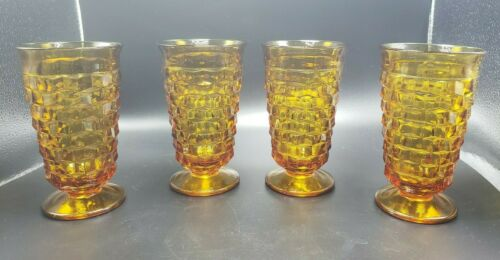 Indiana Glass Whitehall Cubist Amber Iced Tea Goblet