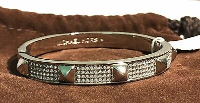 NWT! $145 MICHAEL KORS Silver Crystal Accented Stud Bracelet Bangle