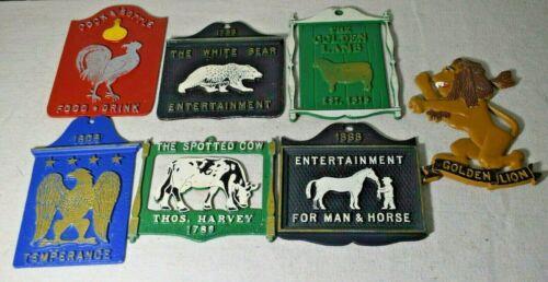 Lot of 7 Vintage Cast Aluminum Decorative Trivets Signs Painted Lion Rooster Lam