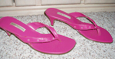 b9ffaa7e6 Awesome ANN MARINO Floral Beaded Slide Thong Heel Sandal Shoes~Hot  Pink~Size 8M