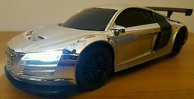 LARGE AUDI R8 LMS RECHARGEABLE Radio Remote Control Car FAST SPEED - CHROME 1:16