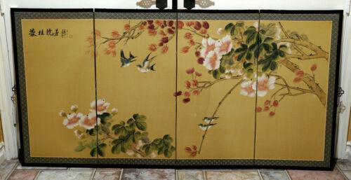 GUC+ Silk Byobu Hibiscus & Birds Artist Signed & Painted 4-Panel Folding Screen