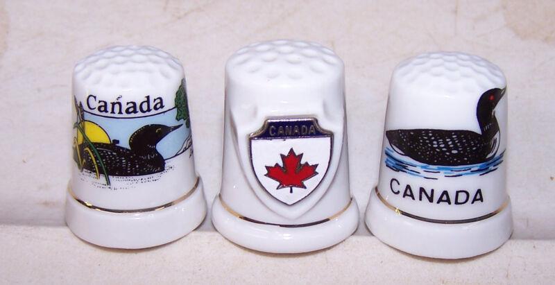 3 Vintage Porcelain CANADA Souvenir Thimbles Loon - Crest - Maple Leaf