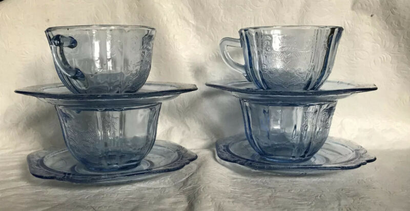Vintage Indiana Glass Blue Madrid Recollection Teacups & Saucers Set of 4