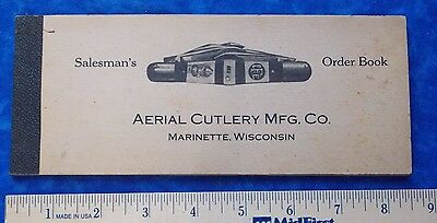 RARE AERIAL CUTLERY MFG CO MARINETTTE, WI 1910'S UNUSED KNIFE ORDER BOOK STIDHAM