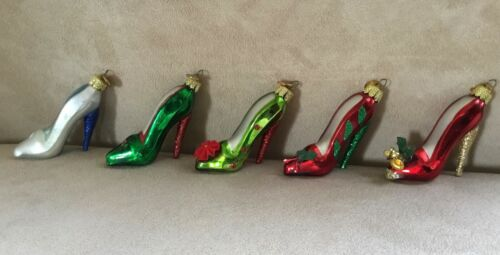 Lot of 5 Kurt Adler Blown Glass Stiletto High Heel Shoe Ornaments KSA