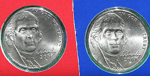 2008-P-D-Jefferson-Nickels-2-Coin-UNC-Cellos-from-US-Mint-Set-Five-Cent-Coins