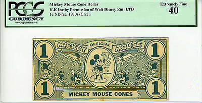 RARE AUTHENTIC 1933 Mickey Mouse Cones Dollar Green PCGS GRADED EF40 80660577