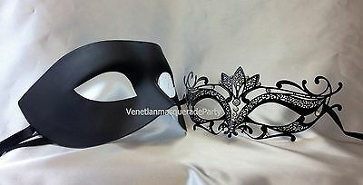 Black White Gold Couple Masquerade mask Pair Costume Dress up Christmas New Year (Black And White Couple Costumes)