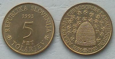 Slowenien / Slovenia 5 Tolarjev 1993 p12 unz.