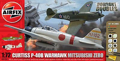 Airfix Curtiss P-40B & Mitsubishi Zero Glue, Paints,& Brushes 1:72 Models A50127