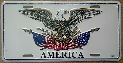 NEW ~ Bald Eagle With Betsy Ross & American Flag Embossed License Plate