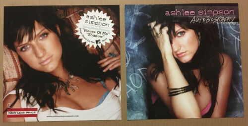 ASHLEE SIMPSON 2004 Set of 2 DOUBLE SIDED PROMO POSTER FLAT of Autobiography CD
