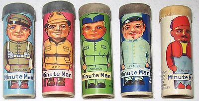 1930's R43 Minute Man Candy Cylinders American Mint Co. 5 Different TOUGH! NICE!
