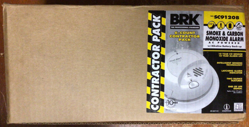 BRK AC-Powered 6-Pack Contractor Smoke & Carbon Monoxide Alarms SC9120B - New!