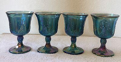 Vintage Goblet set of 4  Blue Harvest Carnival Glass
