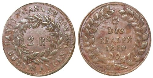 Buenos Aires, Argentina, Copper 2 Reales, 1860, KM-11, Nice Strike