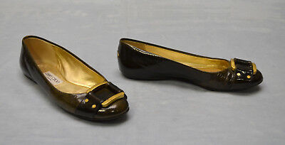 B0 Auth JIMMY CHOO Olive Patent Leather Brass Signature Buckle Flat Shoes Sz 37