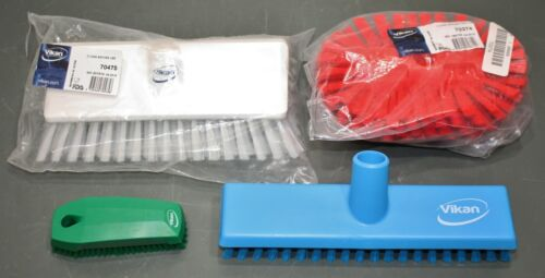 (4) Assorted Vikan Scrub Brushes, 70475/70374 Red, Green, Blue, White, Polyester
