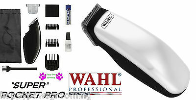WAHL Cordless SUPER POCKET PRO Trimmer/Clipper &2 Blades,Guide Combs-HORSE,DOG