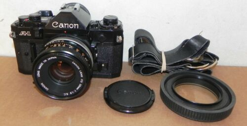 CANON A-1 CAMERA WITH 50MM 1.8 LENS EXCELLENT BLACK BUNDLE 35MM FILM A1