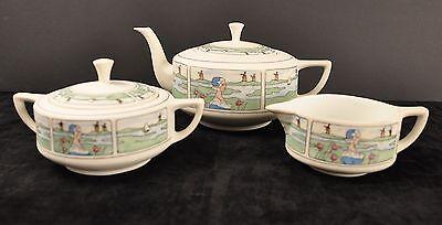 Early Pickard China Dutch Scene Tea Set - Pot, Cream, & Sugar - Circa 1900