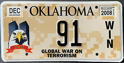 USA Nummernschild - OKLAHOMA WAR ON TERROR 9/11 WTC WORLD TRADE CENTER ADLER