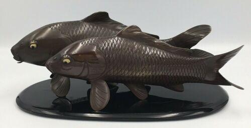 Japanese Taisho Bronze Mixed Metal Okimono - Two Koi-fish