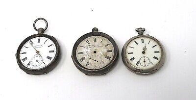 x3 Heavy Antique Victorian Solid Silver Key Wind Pocket Watch Spares 237g #27526