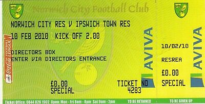 Ticket - Norwich City Reserves v Ipswich Town Reserves 10.02.10