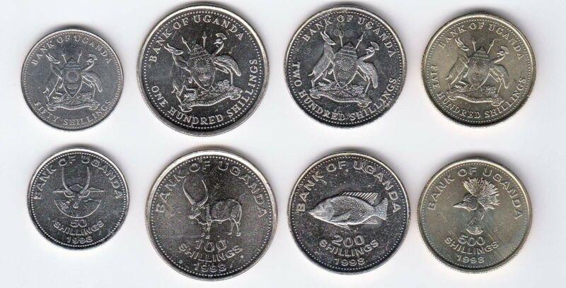 Uganda Set of 4 Coins - 50-500 Shilings UNC/1998
