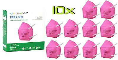 10x MedMaXX FFP2 NR Atemschutzmaske auch für Kinder geeignet Größe S rosa II