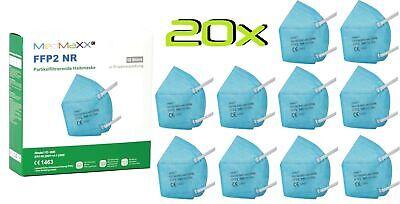20x MedMaXX FFP2 NR Atemschutzmaske auch für Kinder geeignet Größe S hellblau II