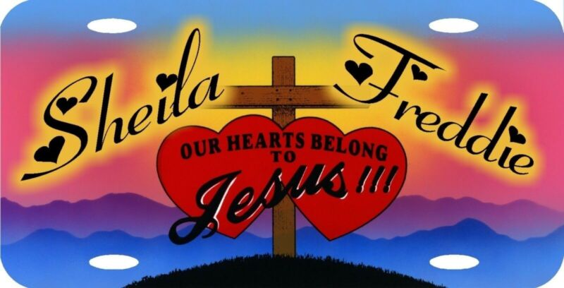 Personalized Custom Our Hearts Belong To Jesus Religious Love License Plate NEW