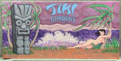 TIKI GARDENS FLORIDA Exotica Painting RED LAVA KID ART Nude Girl RETRO HULA FL