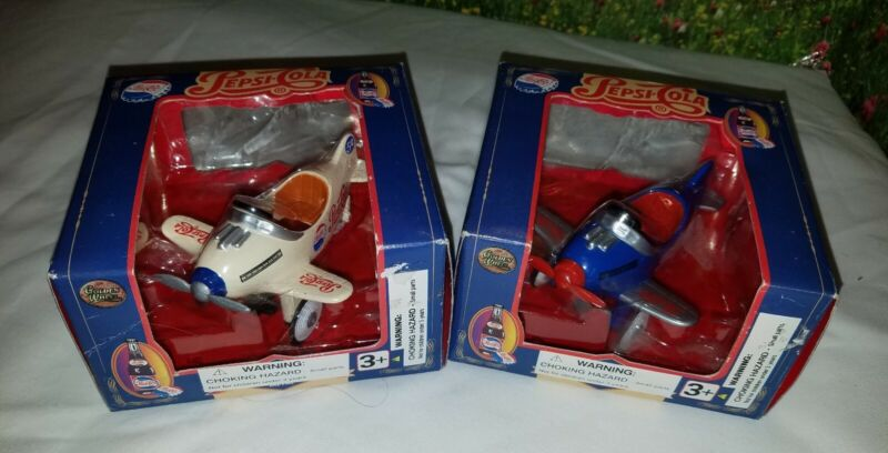"""2 Pepsi Cola Die Cast Pedal Planes Metal Replica 4"""" White Blue Collector Cards"""